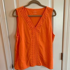 Talbots sleeveless top with lace detail